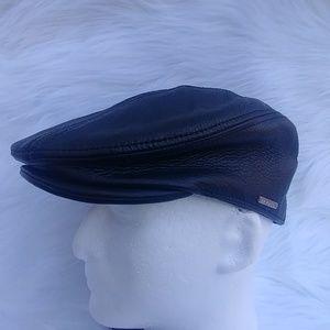 Stetson Black Leather NewsBoy Hat, SZ Small/Medium